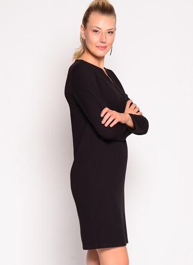 Limon Company Uzun Kollu Düz Elbise Siyah